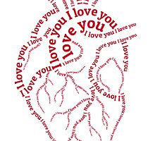 "Red human heart with text ""I love you"" by beakraus"