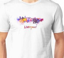 Liverpool skyline in watercolor Unisex T-Shirt