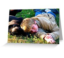 dog and child Greeting Card