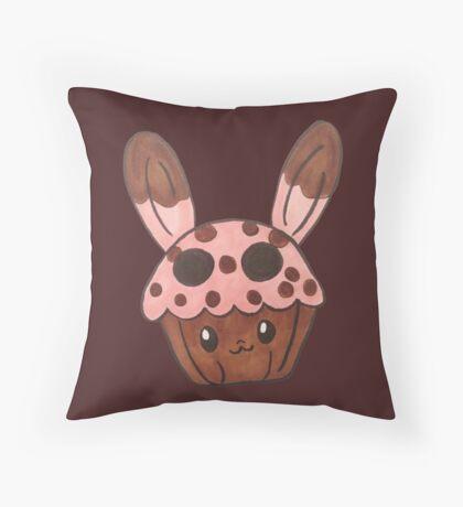 strawberry bunny cupcake Throw Pillow