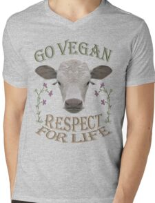 GO VEGAN - RESPECT FOR LIFE Mens V-Neck T-Shirt