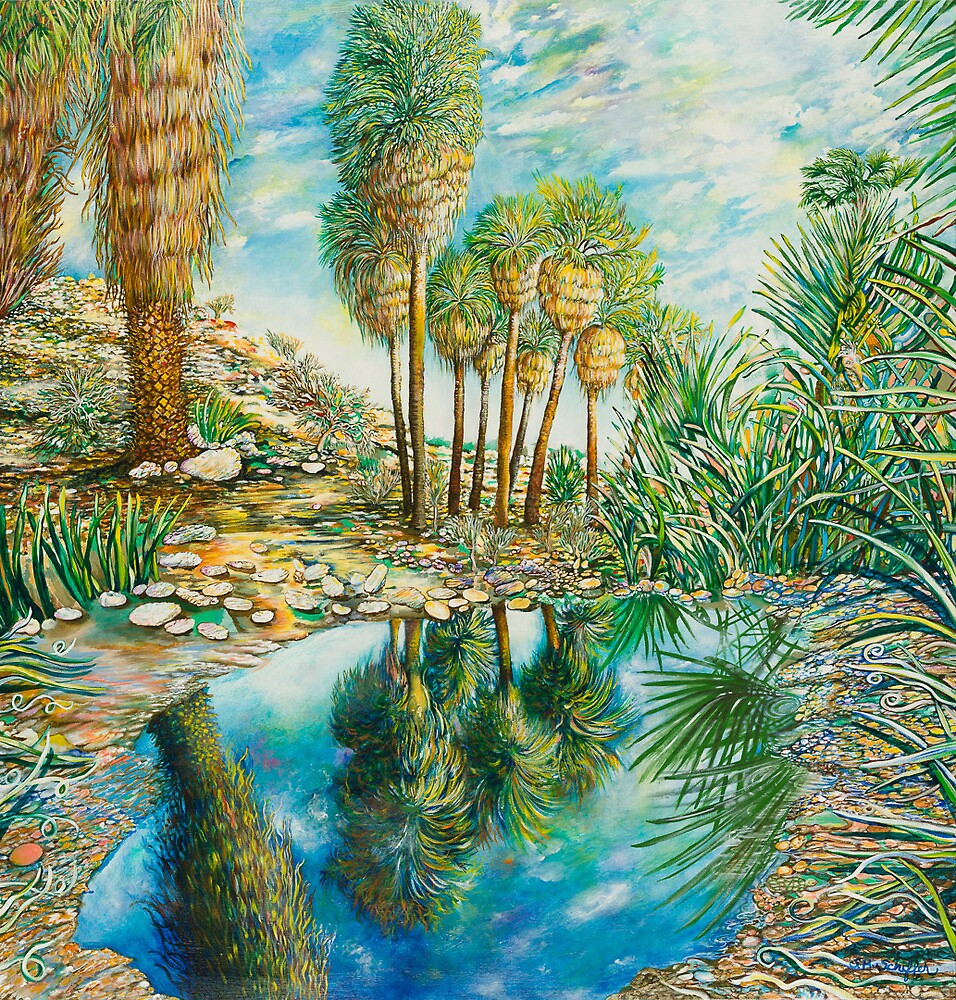 "Seven Palms Oasis , acrylic on canvas, 48""x60"" by tutuzi22"
