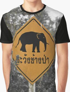 Elephant crossing, black & white Graphic T-Shirt