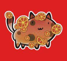 Orange Fruit Cat One Piece - Short Sleeve