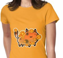 Orange Fruit Cat Womens Fitted T-Shirt