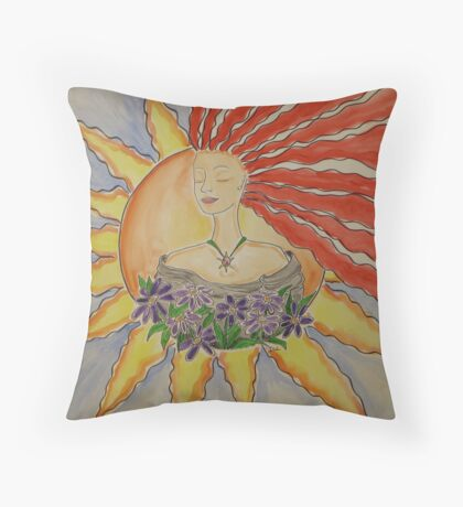 Becoming one with the Sun Throw Pillow