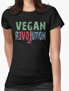 VEGAN REVOLUTION - vegan, vegetarian, animal rights, cruelty to animals Womens Fitted T-Shirt
