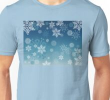 Blue Background with Snowflakes Unisex T-Shirt