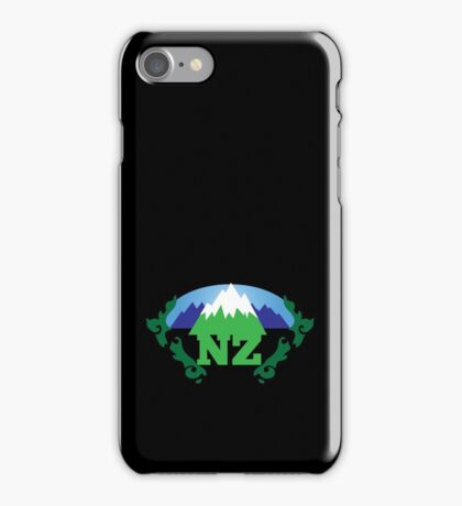 simple New Zealand with Maori stylised kiwi map and mountains  iPhone Case/Skin