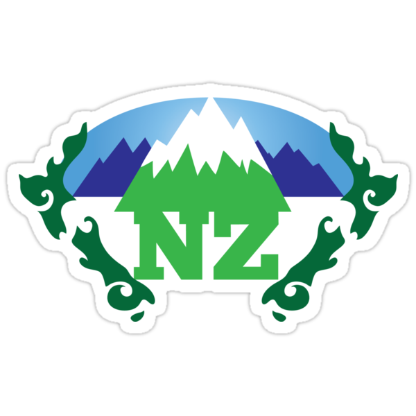 simple New Zealand with Maori stylised kiwi map and mountains  by jazzydevil