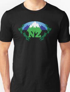 simple New Zealand with Maori stylised kiwi map and mountains  Unisex T-Shirt