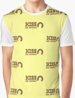 KISS me COWBOY! with cute horseshoe ladies cowgirl design Graphic T-Shirt