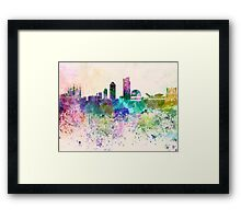 Lyon skyline in watercolor background Framed Print