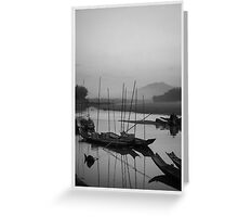 Life at Mae Khong river in sunset Greeting Card