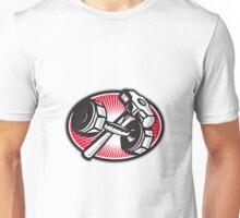 Dumbbell and Sledgehammer Retro Unisex T-Shirt