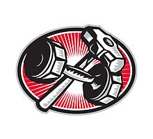 Dumbbell and Sledgehammer Retro by patrimonio