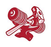Dumbbell Anvil and Sledgehammer Retro by patrimonio