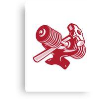 Dumbbell Anvil and Sledgehammer Retro Canvas Print