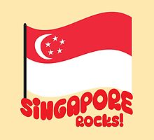 Singapore Rocks! with waving flag by jazzydevil