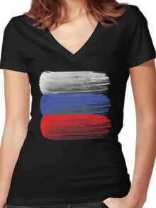 Russia flag russian Women's Fitted V-Neck T-Shirt