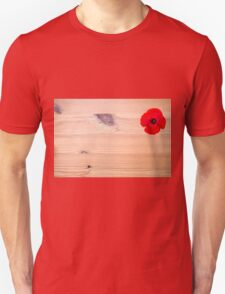 background of Red flower on wood  Unisex T-Shirt
