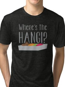 Wheres the HANGI? (New Zealand) KIWI food cooked in a pit Tri-blend T-Shirt