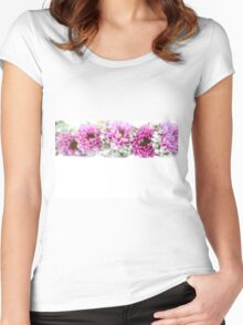 purple and mauve Flower frame on white  Women's Fitted Scoop T-Shirt