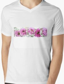 purple and mauve Flower frame on white  Mens V-Neck T-Shirt