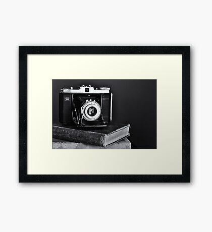 Old Camera, Old Books Framed Print