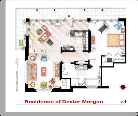 Floorplan of the apartment of Dexter Morgan v.1 by Iñaki Aliste Lizarralde