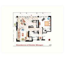 Floorplan of the apartment of Dexter Morgan v.2 Art Print