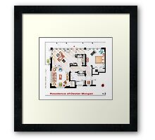 Floorplan of the apartment of Dexter Morgan v.2 Framed Print