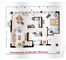 Floorplan of the apartment of Dexter Morgan v.2 Poster