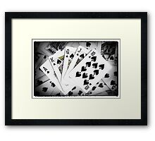 Playing Cards Royal Flush with Digital Border and Effects Framed Print