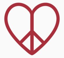 Love and peace, red heart with peace sign by beakraus