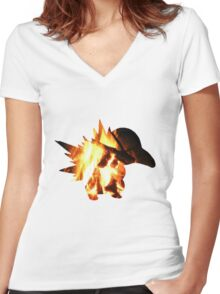 Cyndaquil used Ember Women's Fitted V-Neck T-Shirt