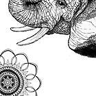 Bohemian Elephant on White by LivinAloha