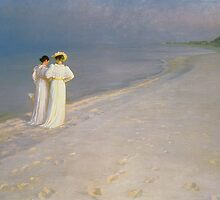 Summer Evening on the Skagen Southern Beach with Anna Ancher and Marie Kroyer, 1893 by Bridgeman Art Library
