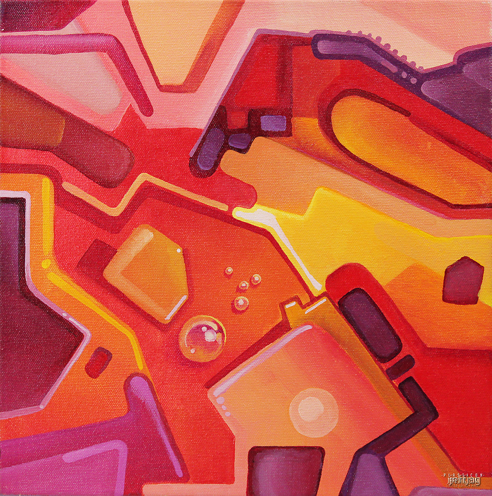 Plasticon - Abstract Acrylic Canvas Painting by jeffjag