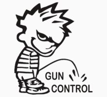 Boy Peeing on GUN CONTROL by Tony  Bazidlo