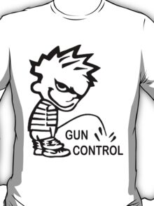 Boy Peeing on GUN CONTROL T-Shirt