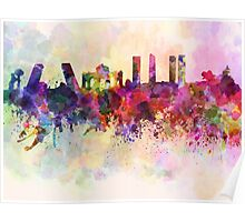 Madrid skyline in watercolor background Poster