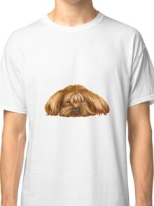 A Big Dog Lower his Body to the Ground, Thinking Something.  Classic T-Shirt
