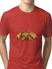 A Big Dog Lower his Body to the Ground, Thinking Something.  Tri-blend T-Shirt