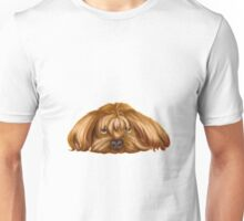 A Big Dog Lower his Body to the Ground, Thinking Something.  Unisex T-Shirt