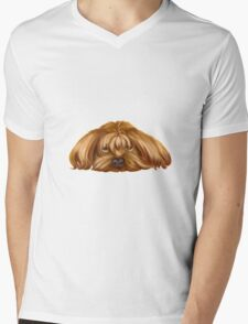 A Big Dog Lower his Body to the Ground, Thinking Something.  T-Shirt