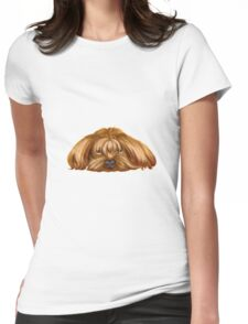 A Big Dog Lower his Body to the Ground, Thinking Something.  Womens Fitted T-Shirt