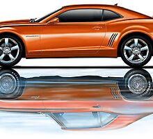 Camaro New Refecting Old in Water Inferno Orange by davidkyte