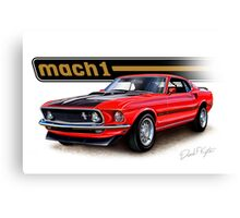 1969 Mustang Mach 1 in Red Canvas Print
