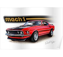 1969 Mustang Mach 1 in Red Poster